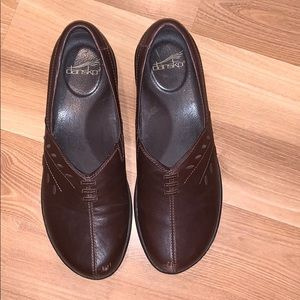 Dansko dark brown leather mules size 10 GUC